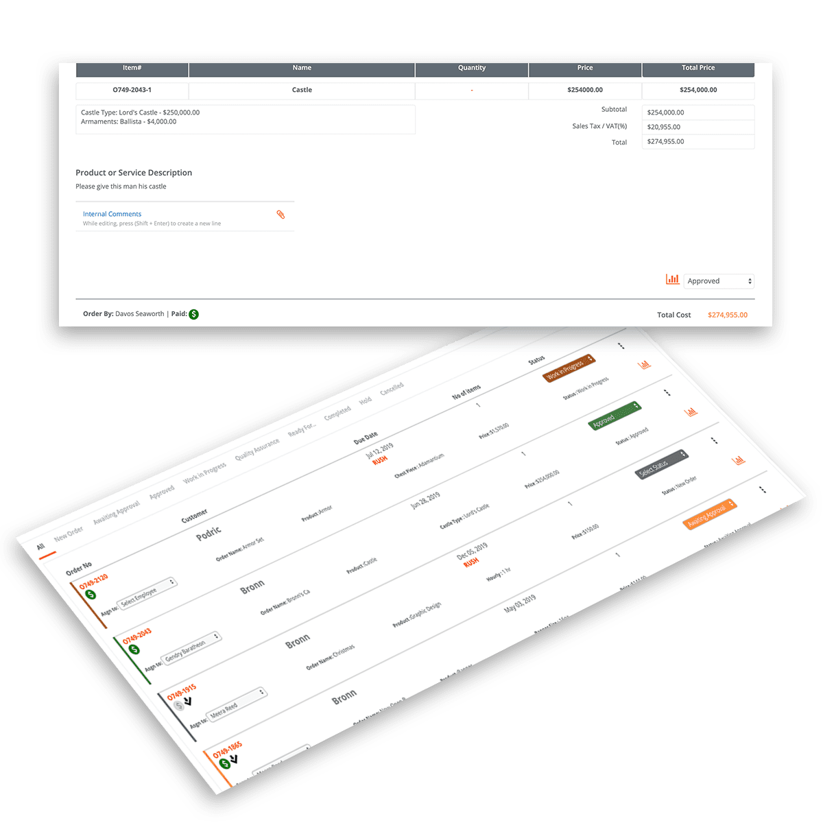 Track Orders by Status